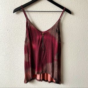 Silence & Noise Pink Printed Zip Front Camisole